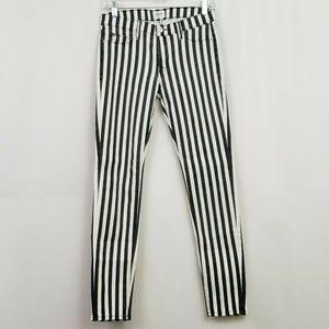 Hudson Krista Super Skinny Jean Black White Stripe